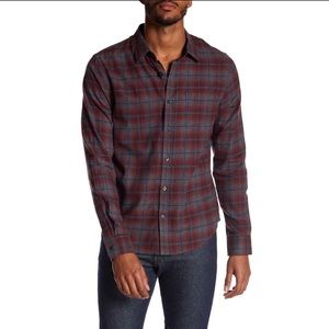 Vince. Gray Window Shadow Plaid Button Up (L)